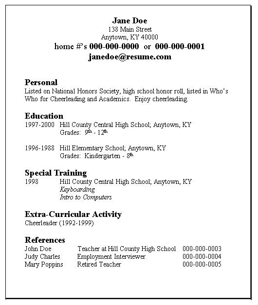 Sample Student Resumes » Sample Resumes for a High School Student